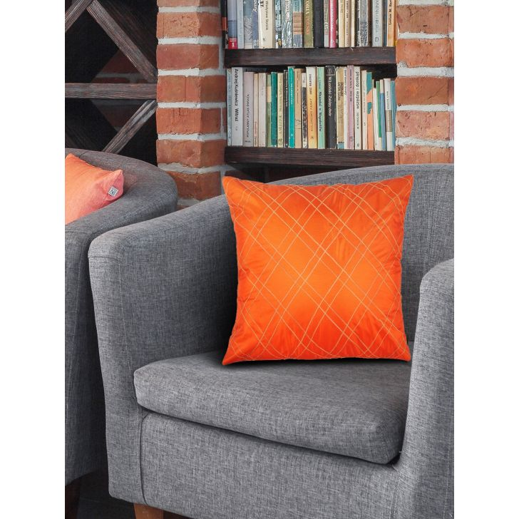 . Cotton Cushion Covers in Orange Colour by Living Essence