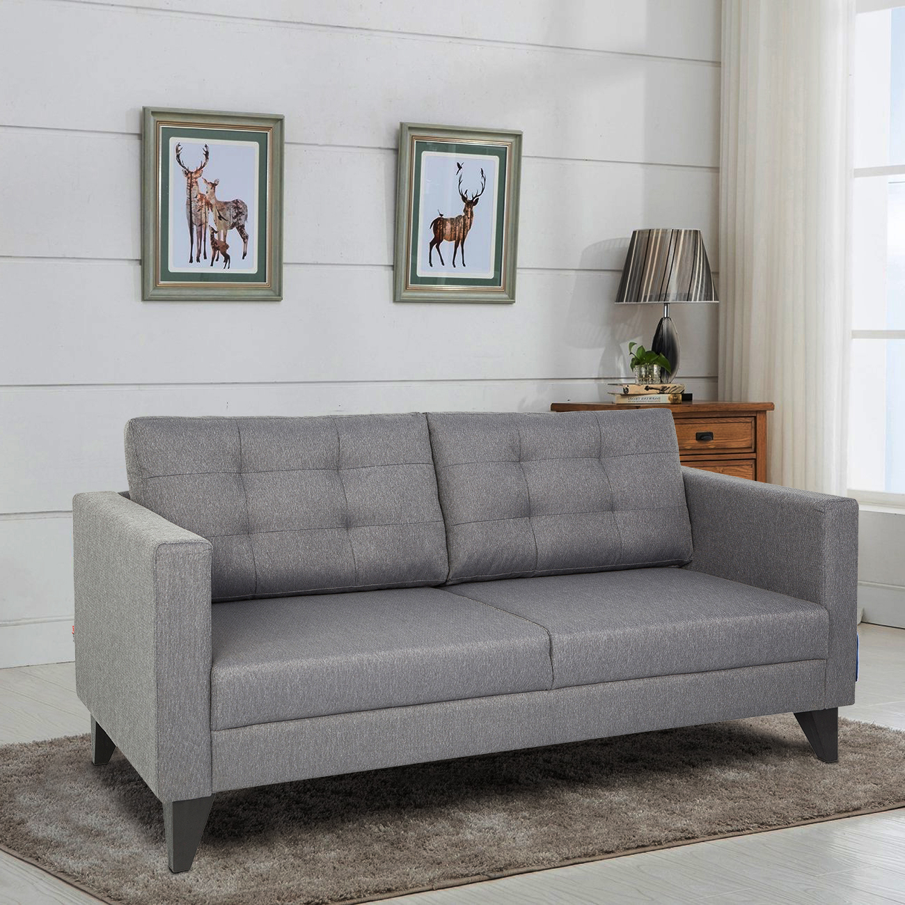 Castellar Fabric Three Seater sofa in Grey Colour by HomeTown