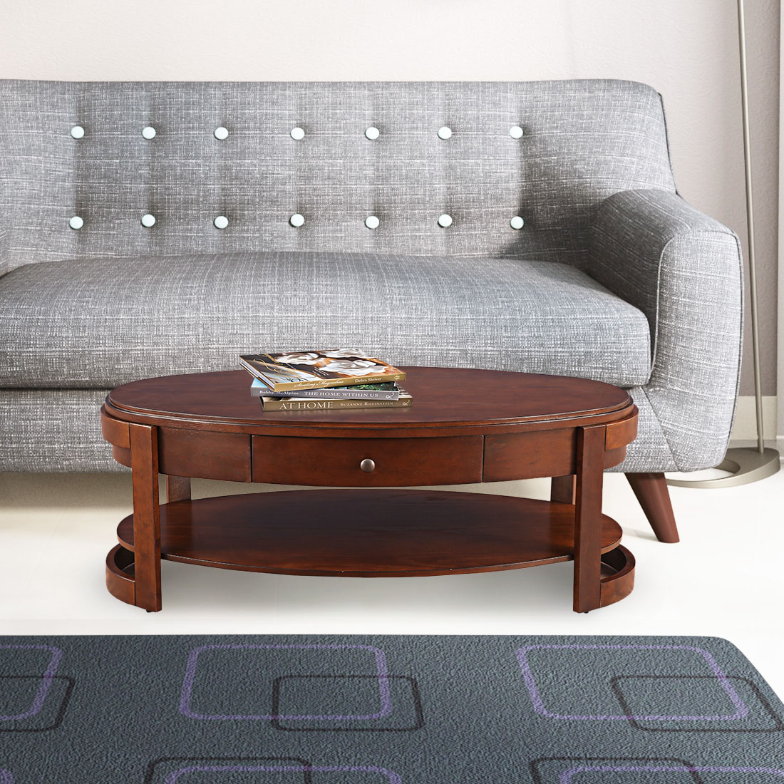 Watson Solid Wood Glass Top Center Table in Brown Colour by HomeTown