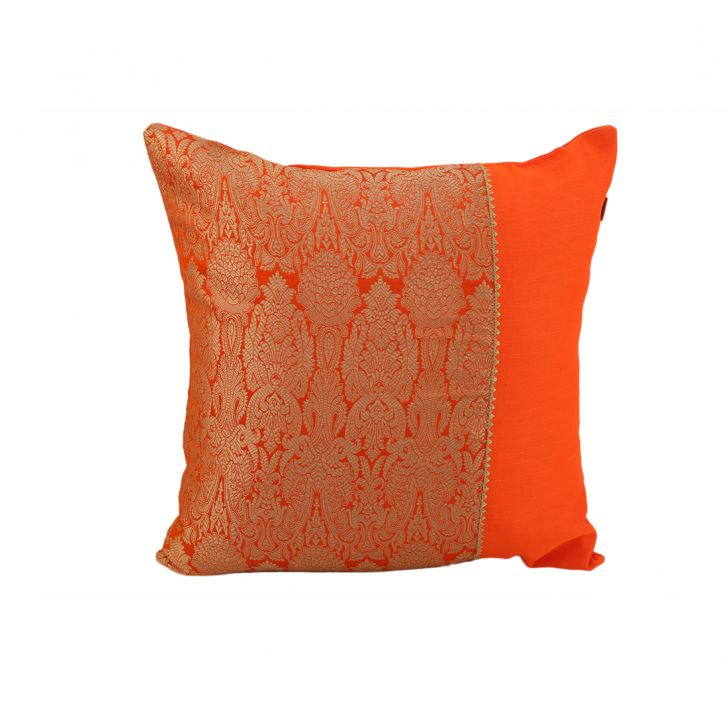 Royale Patch Orange Fuchsia Polyester Cushion Covers in Orange Fuchsia Colour by Living Essence