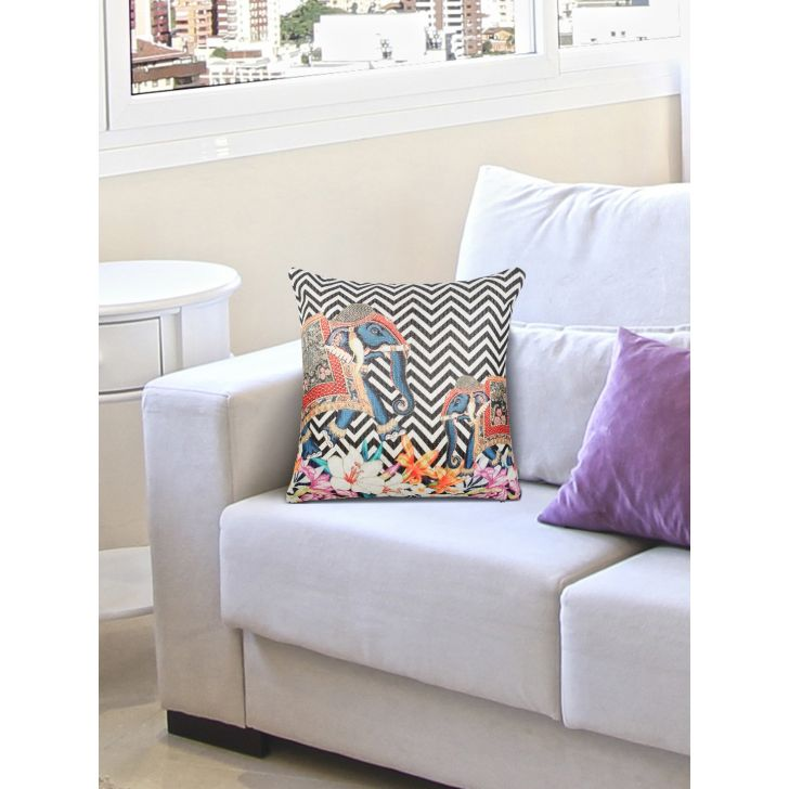 Digi Elephant Cotton Cushion Covers in Black Colour by Living Essence