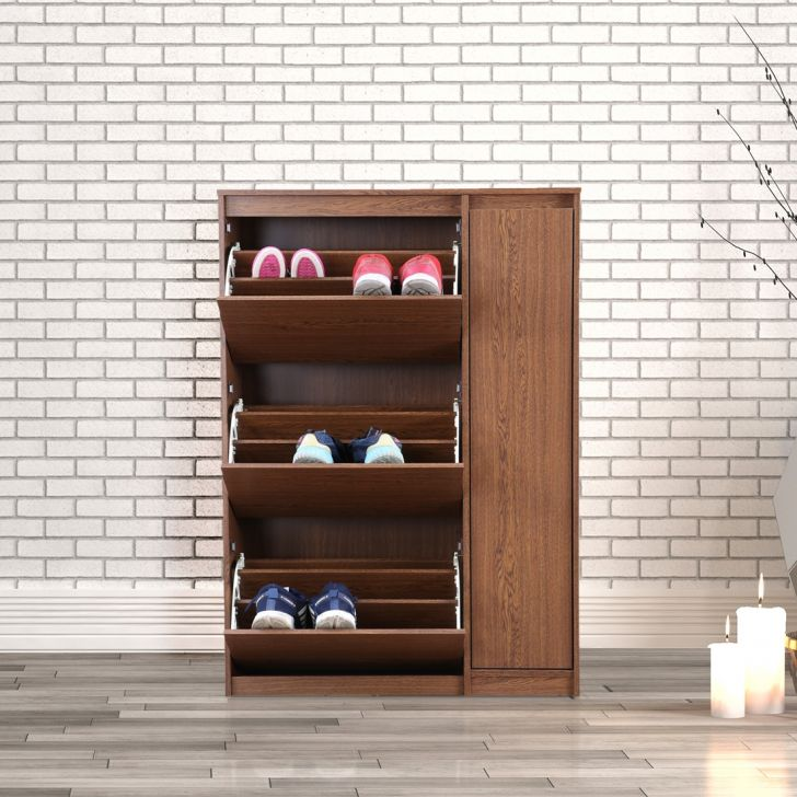 Alder Engineered Wood Shoe Rack With Cabinet in Walnut Colour by HomeTown