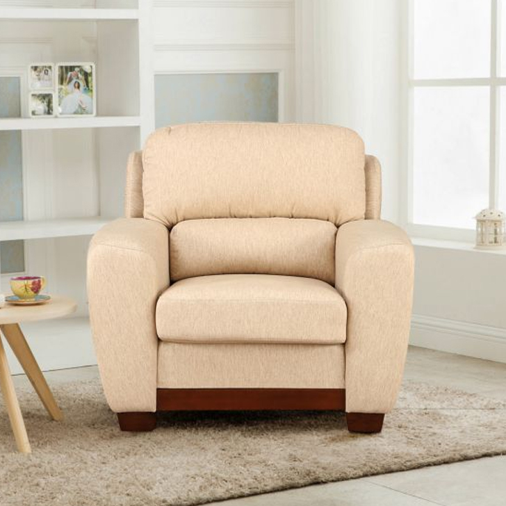 Brendon Fabric Single Seater sofa in Beige Colour by HomeTown
