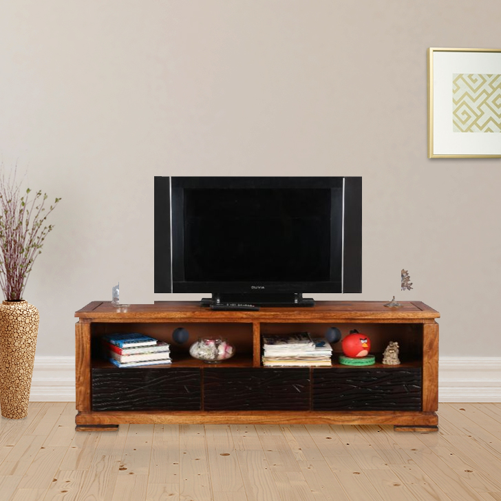 Leopold Solid Wood TV Unit in Walnut  & Black Colour by HomeTown