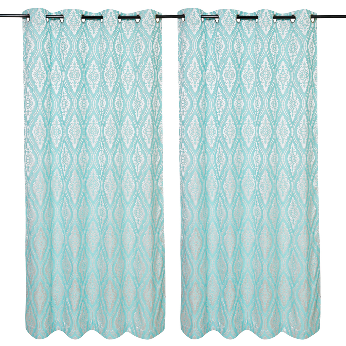 Amour Jacquard set of 2 Polyester Door Curtains in Turquoise Colour by Living Essence