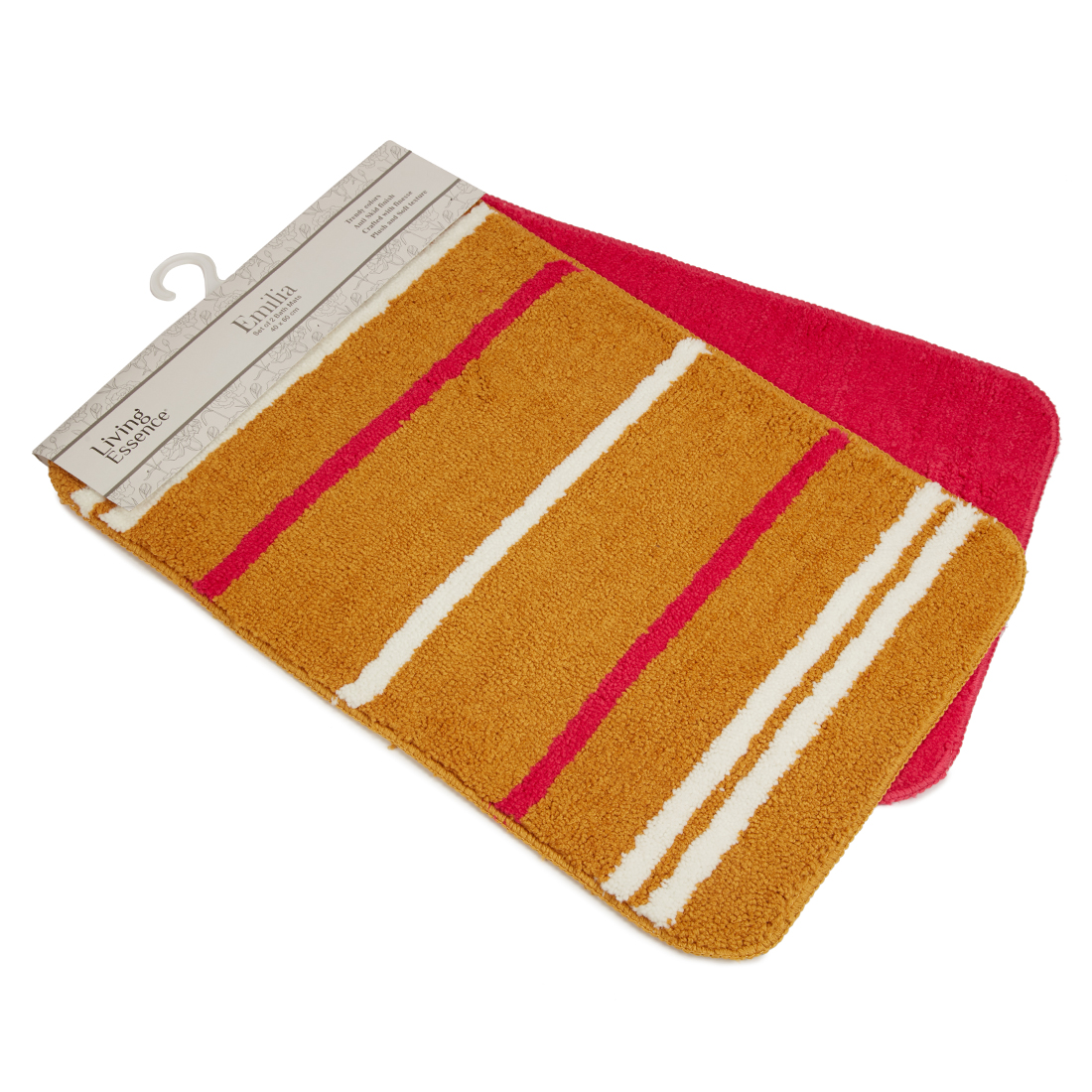 Set of 2 Bathmats Mustard Pink Bath Mats in Mustard Pink Colour by Living Essence