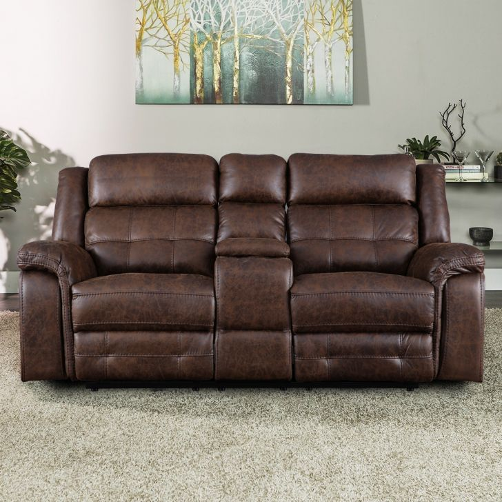 Zurich Solid Wood Two Seater Recliner With Console in Brown Colour by HomeTown