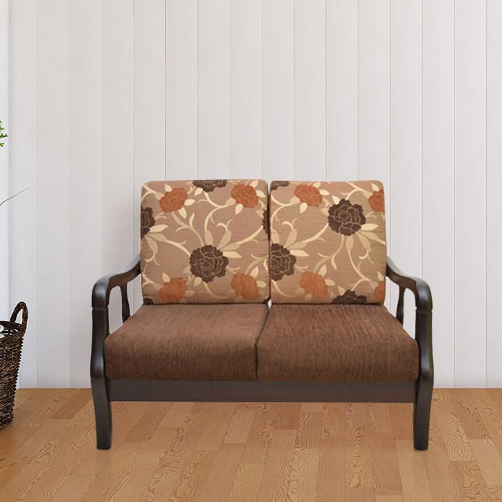 Phoenix Solid Wood Two Seater Sofa in Brown Colour by HomeTown