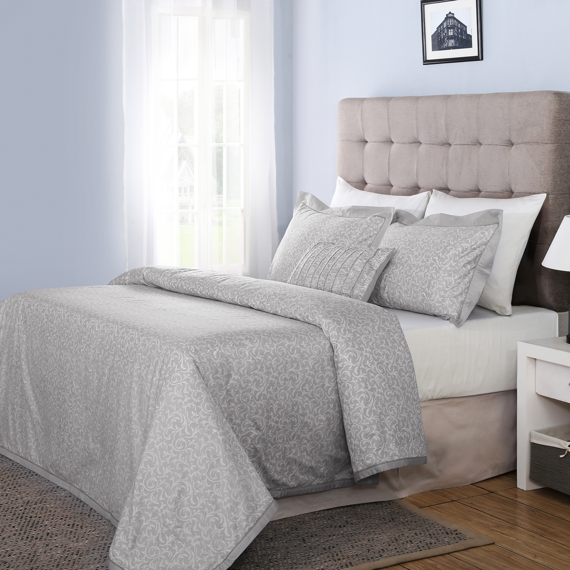 300 TC Classic Essence Cotton King Size Duvet Cover with 2 Pillow Covers in Grey Colour by Maspar