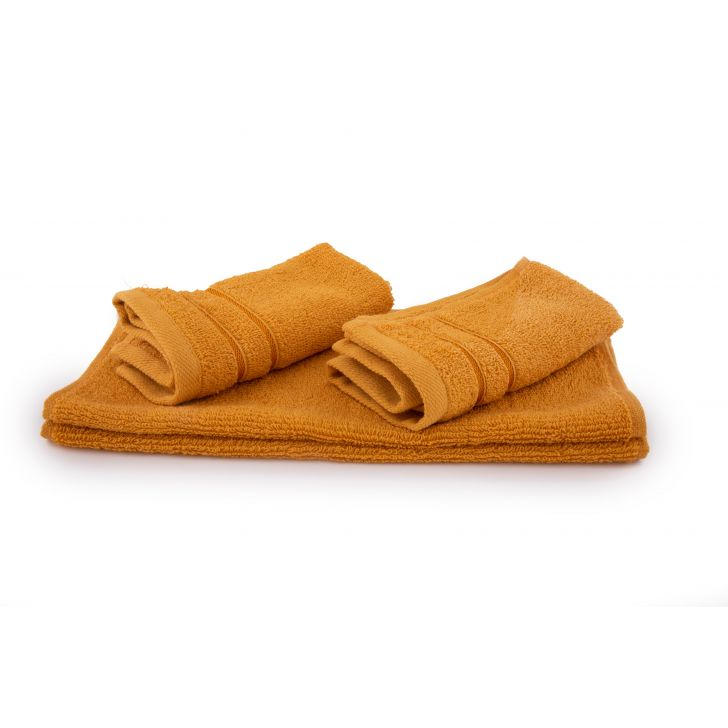 Living Essence Face Towel Cotton Face Towels in Nora Mustard Colour by HomeTown
