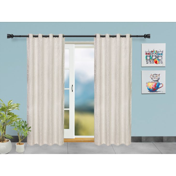Set of 2 Polyester Door Curtains in Off White Colour by Living Essence