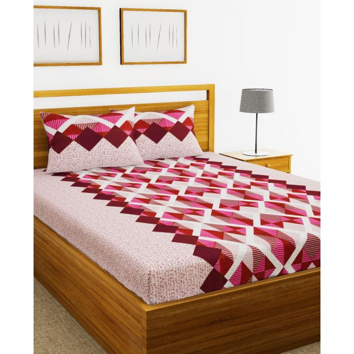 Essenza Cotton King Bed Sheet 220X254 CM in Pink Colour