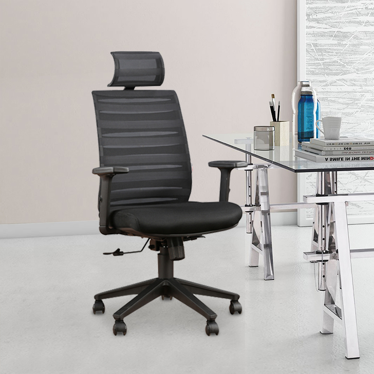 Lotus Fabric Office Chair in Black Colour by HomeTown