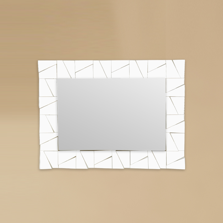 Mirage Rectangle Trapezium Border Mirror Mirror Wall Accents in Gold Colour by Living Essence