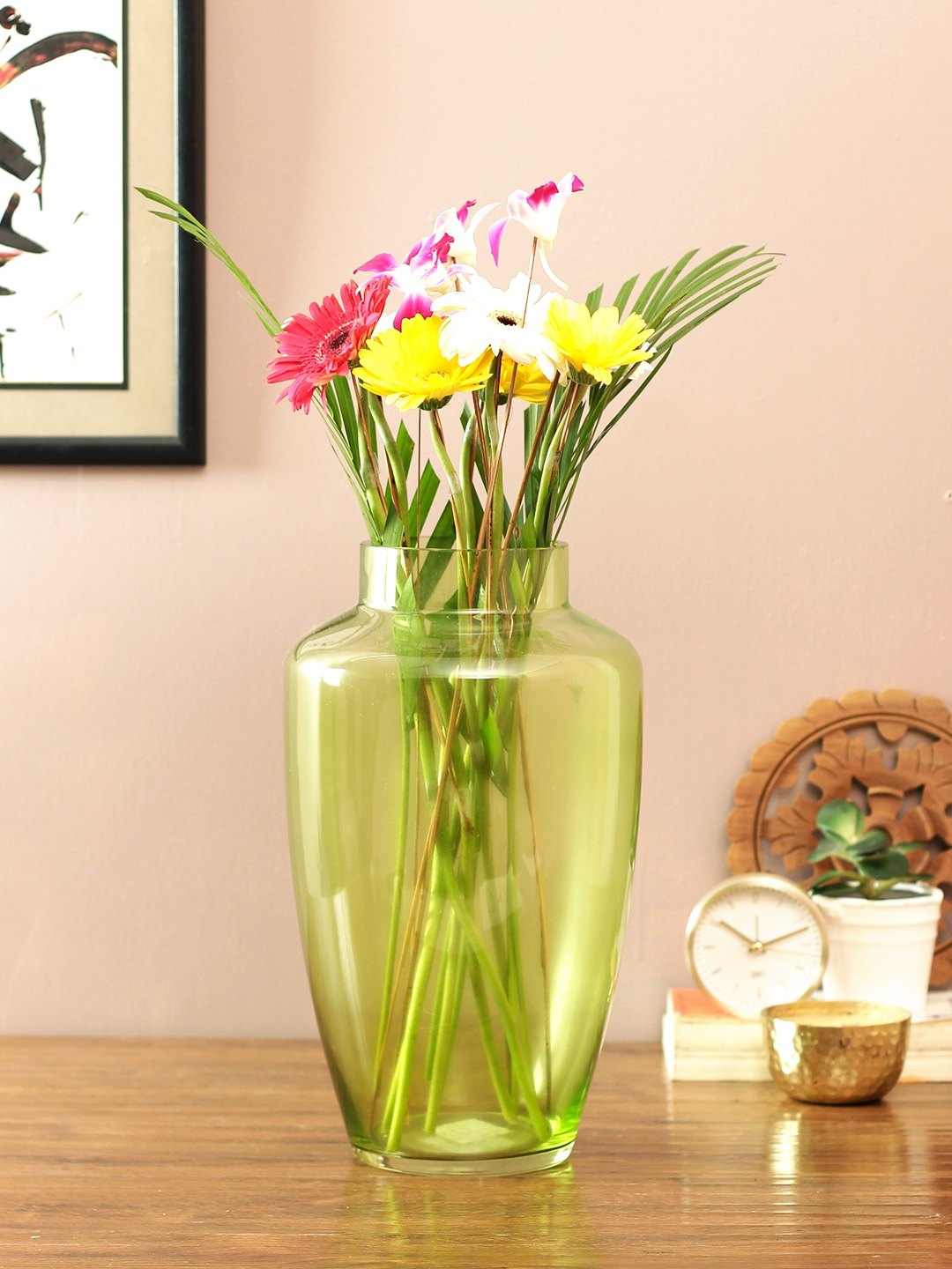 Buy Eva Modern Tall Glass Vase Green Glass Vases In Green Colour By Living Essence Online At Best Price Hometown