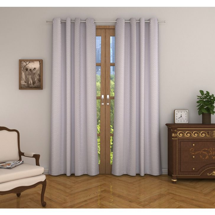 Amour Jacquard Set of 2 Door Curtain in White Colour