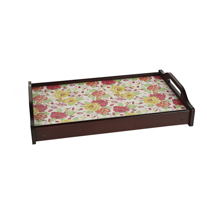 LE English Floral Break Fast Tray Timber Wood Trays in Multicolour Colour by Living Essence
