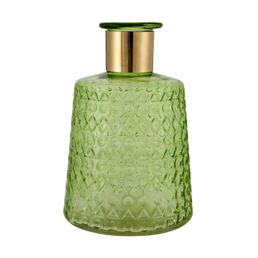 Marvela Colored Glass Vase With Gold Rim Lime Glass Vases in Lime Colour by Living Essence
