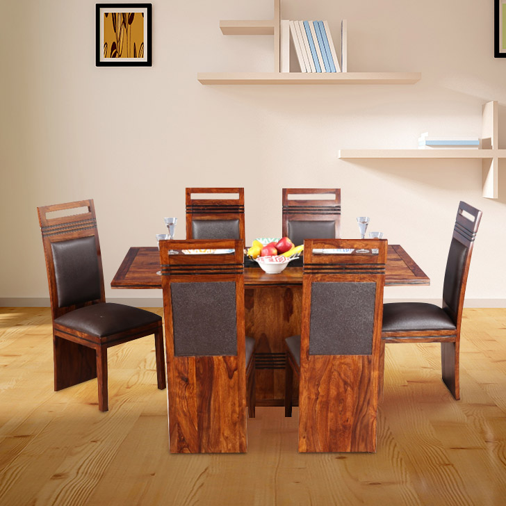 Leopold Solid Wood Six Seater Dining Set in Brown Colour by HomeTown