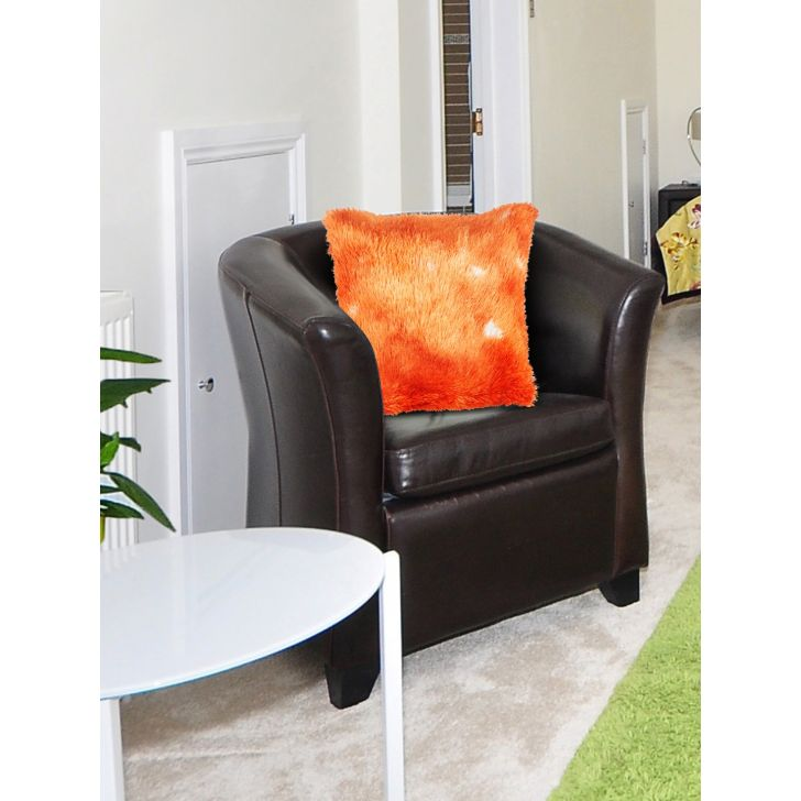 Fluffy Polyester Filled Cushions in Orange Colour by Living Essence