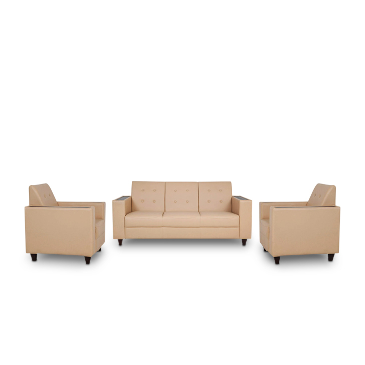 Valerie Leather Fabric Single Seater Sofa in Butterscotch Colour by HomeTown
