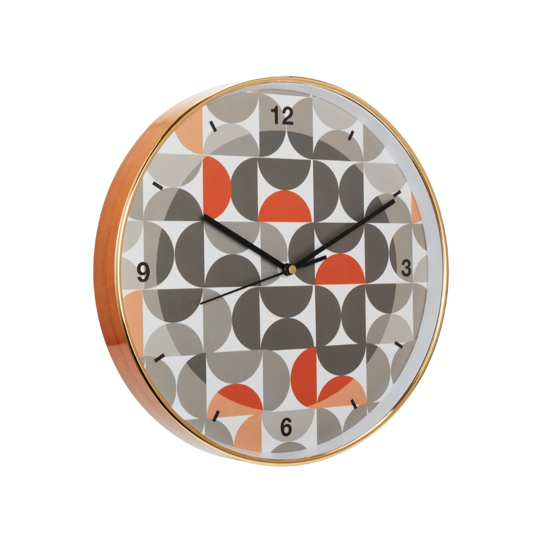 Aika Urbane Half Circle Clock Plastic Modern Clocks in Orange & Grey Colour by Living Essence