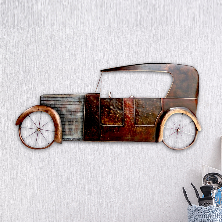 W-VINTAGE CAR Iron Large Wall Accents in Mettalic Brown Colour by Royce