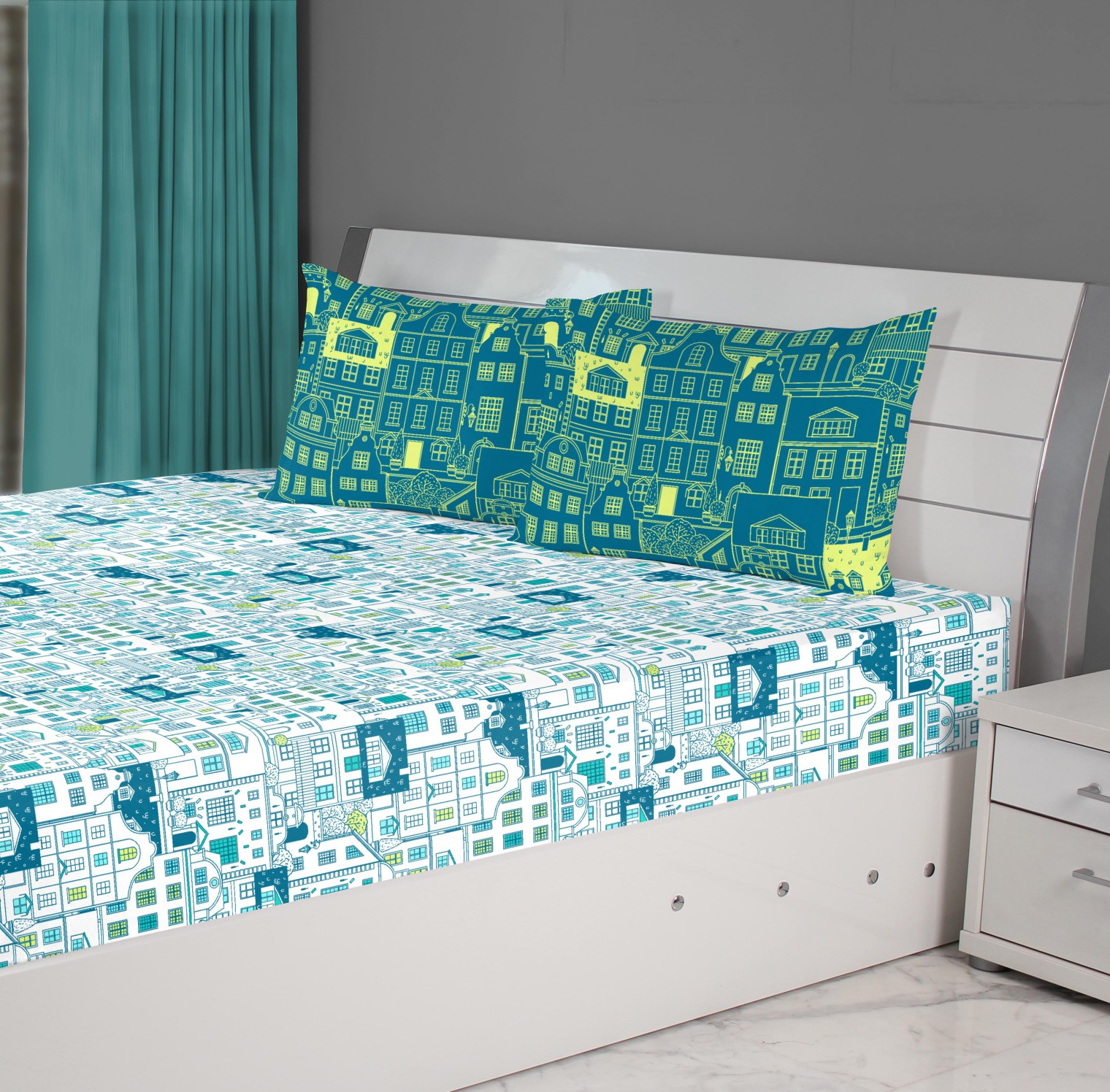 Fiesta House Cotton Double Bedsheets in Teal Colour by Living Essence