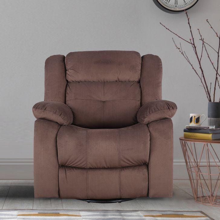 Christopher Fabric Single Seater Recliner With Swivel in Brown Color by HomeTown