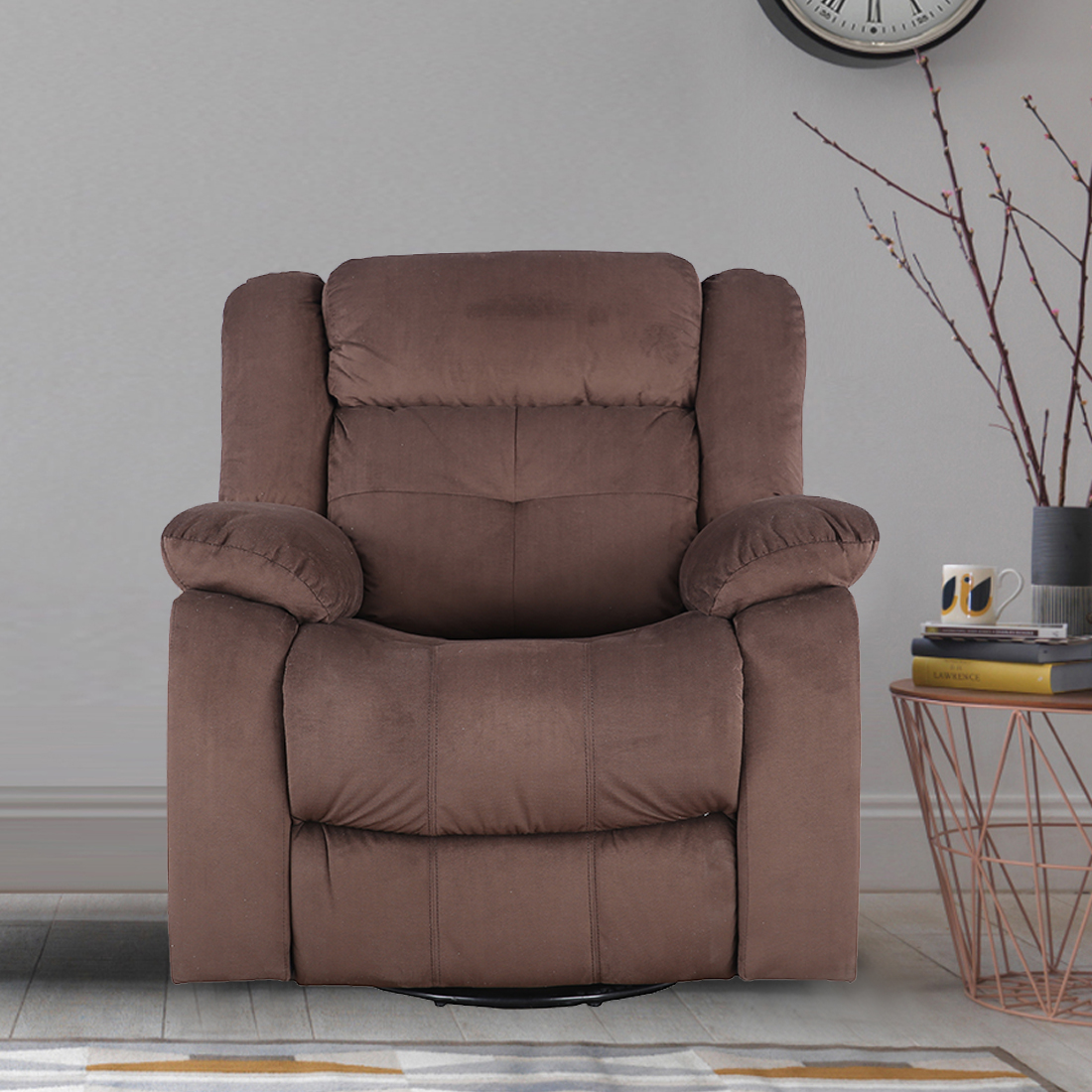 Christopher Fabric Single Seater Recliner With Swivel in Brown Colour by HomeTown