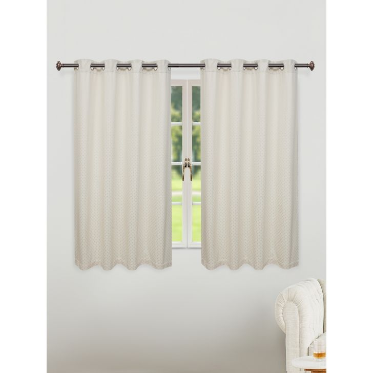 Fiesta Jacquard Set of 2 Cotton Window Curtains in Off White Colour by Living Essence