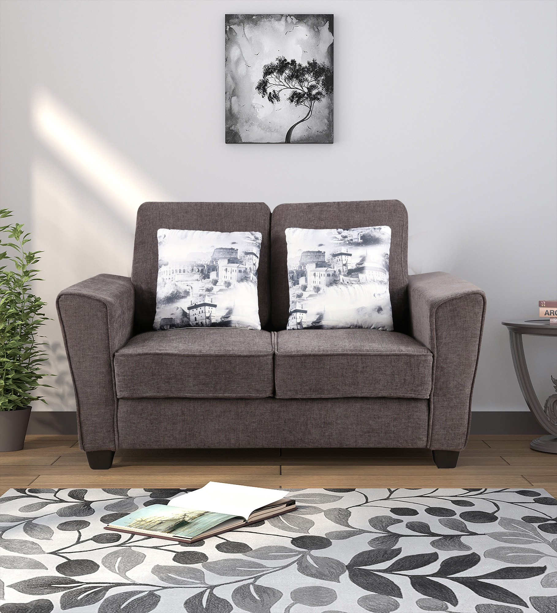 Rogers Fabric Two Seater sofa in Grey Colour by HomeTown