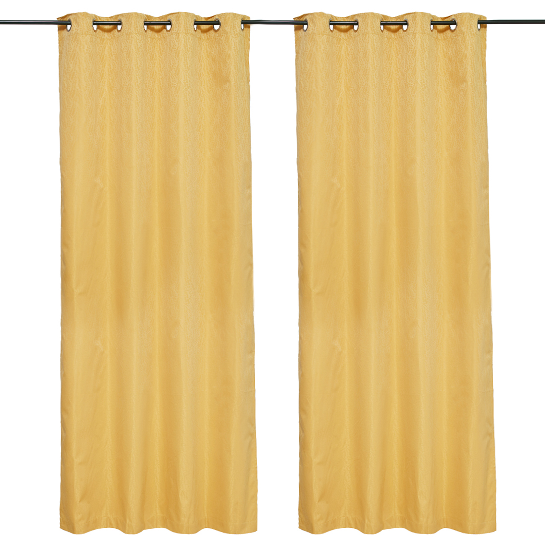 Emilia Jacquard set of 2 Polyester Door Curtains in Mustard Colour by Living Essence