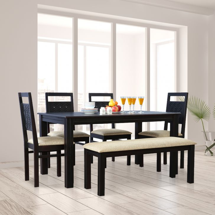 Hexa Solid Wood Six Seater Dining Set With Bench in Walnut Colour by HomeTown
