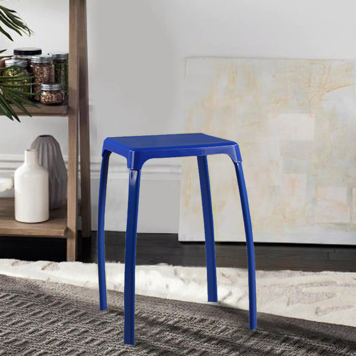 Aldo Pp Plastic Bar Chair and Stool in Blue Colour by HomeTown