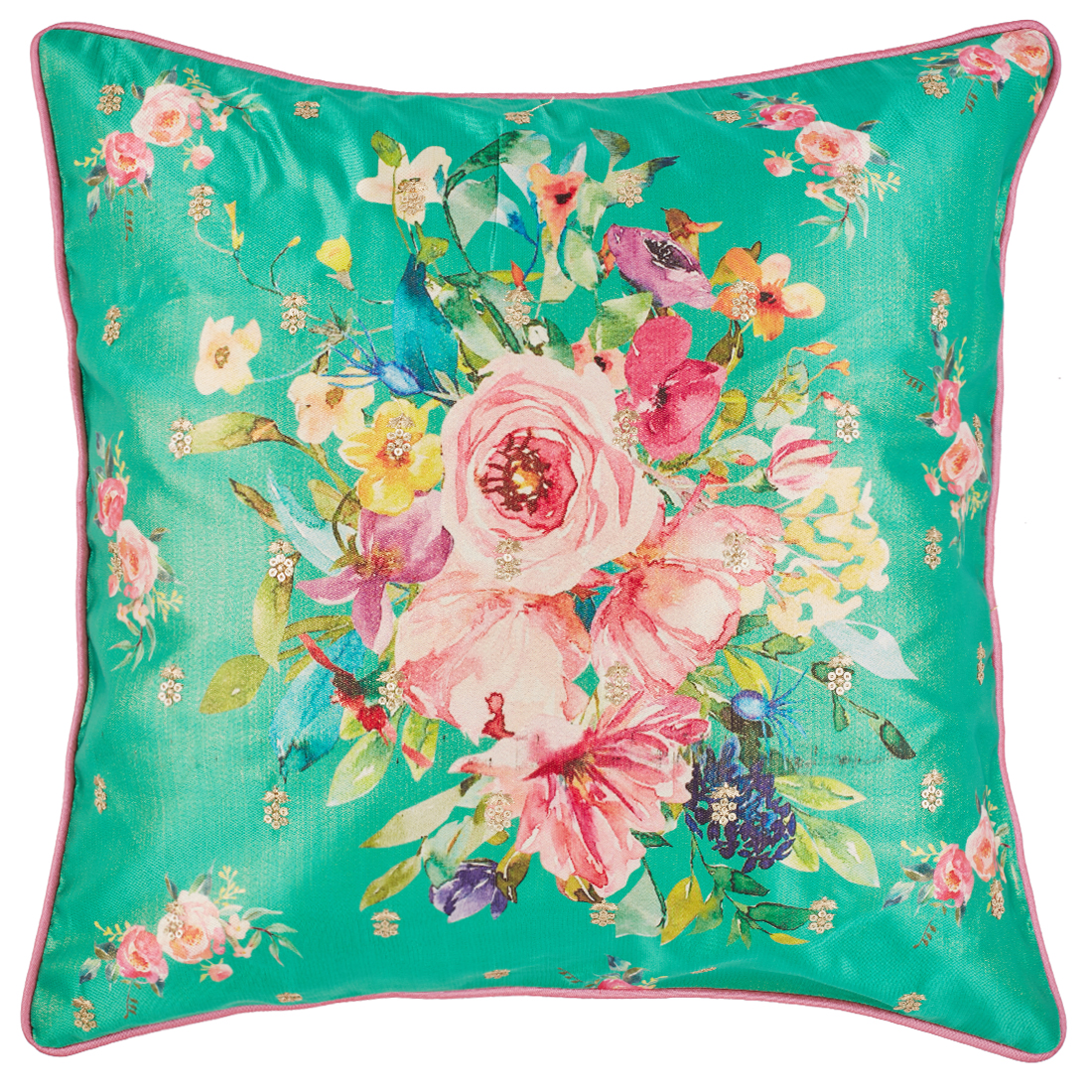 Bouquet Polyester Cushion Covers in Emerald Colour by Living Essence