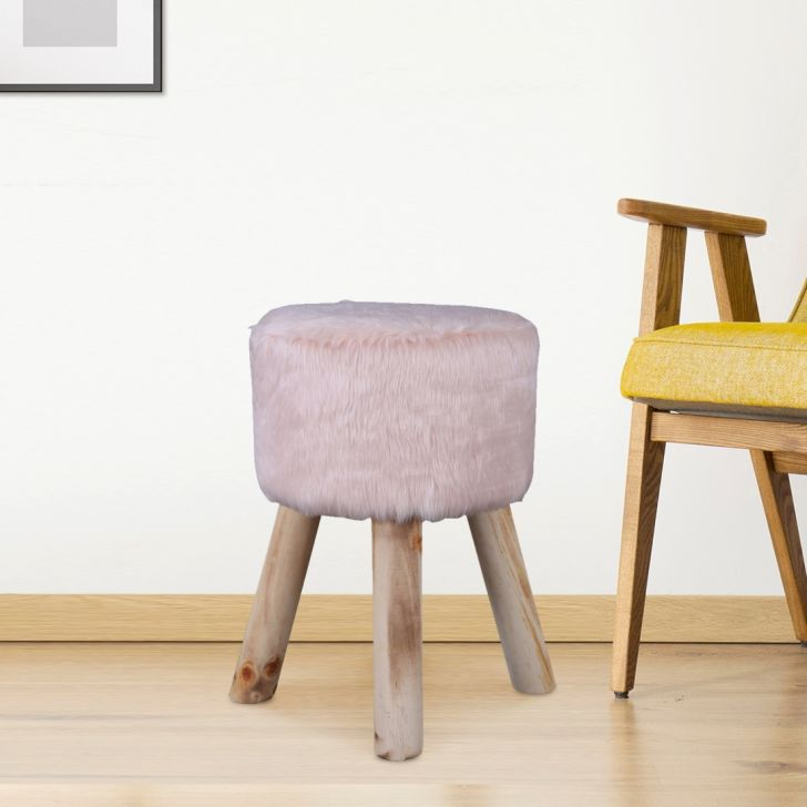 Danica Fabric Ottoman in Peach Colour by HomeTown
