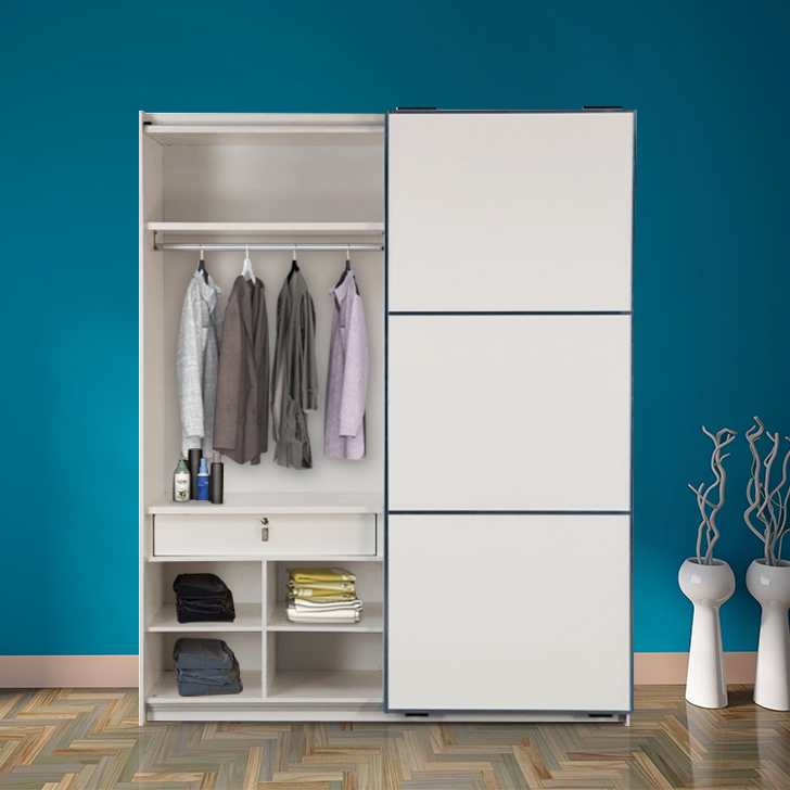 Fidora Engineered Wood Sliding Wardrobe in White Colour by HomeTown