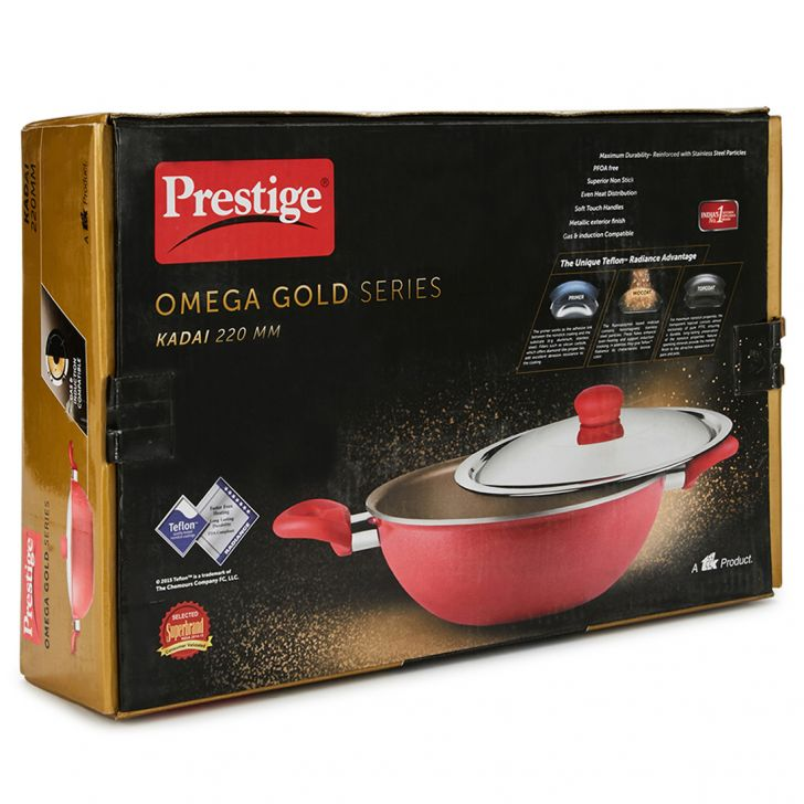 Gold 220 Mm Kadai With Lid Pressed Alluminium Kadhai & Wok in Red Colour by Living Essence