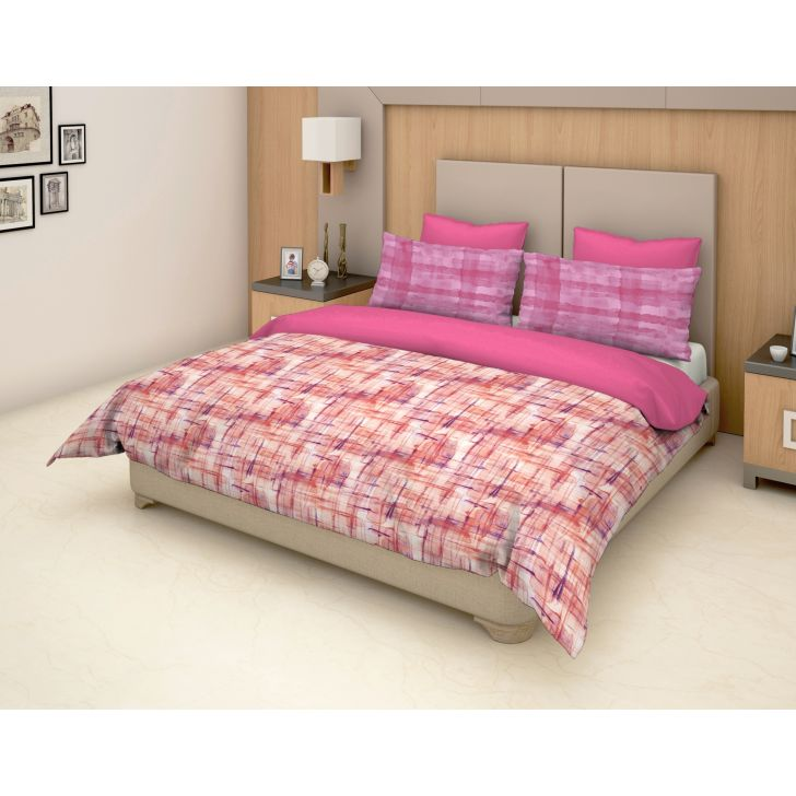 Epitome Cotton Double Bedsheet in Pink Colour by Trident