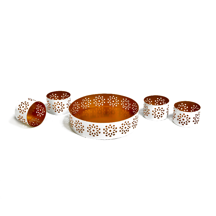 Malhar Iron Pooja Special in White And Gold Colour by Malhar