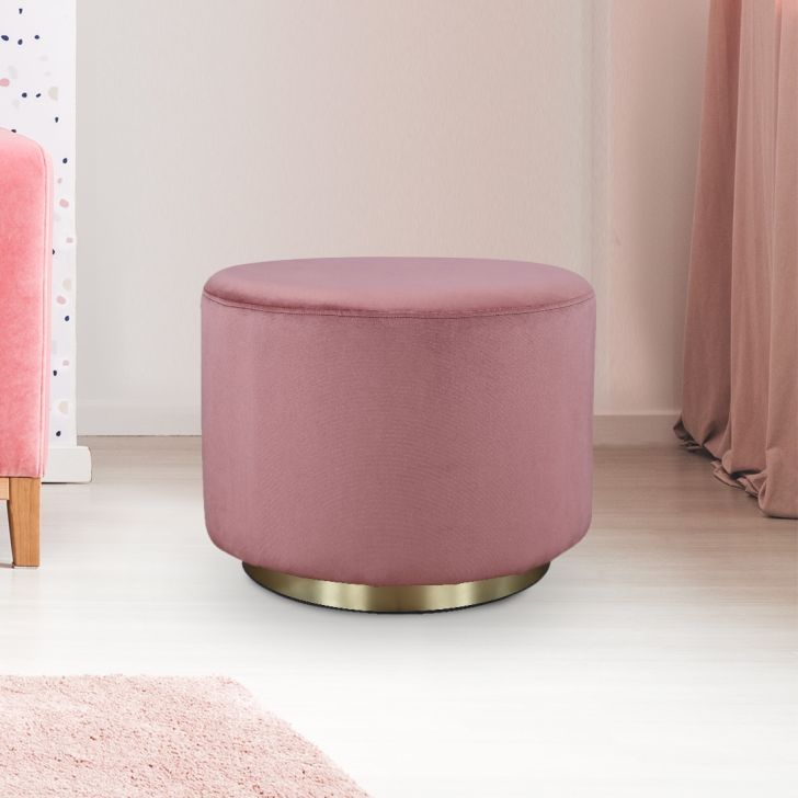 Popcorn Fabric Ottoman in Peach Colour by HomeTown