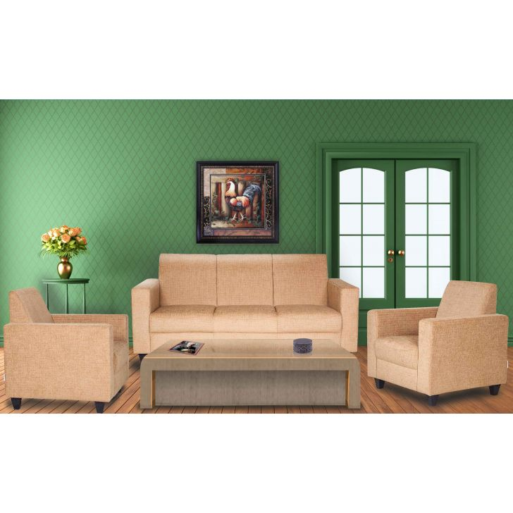 Xavier Fabric Sofa Set in Mustard Colour by HomeTown