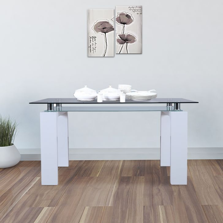 Garfield Engineered Wood Glass Top Six Seater Dining Table in White Colour by HomeTown
