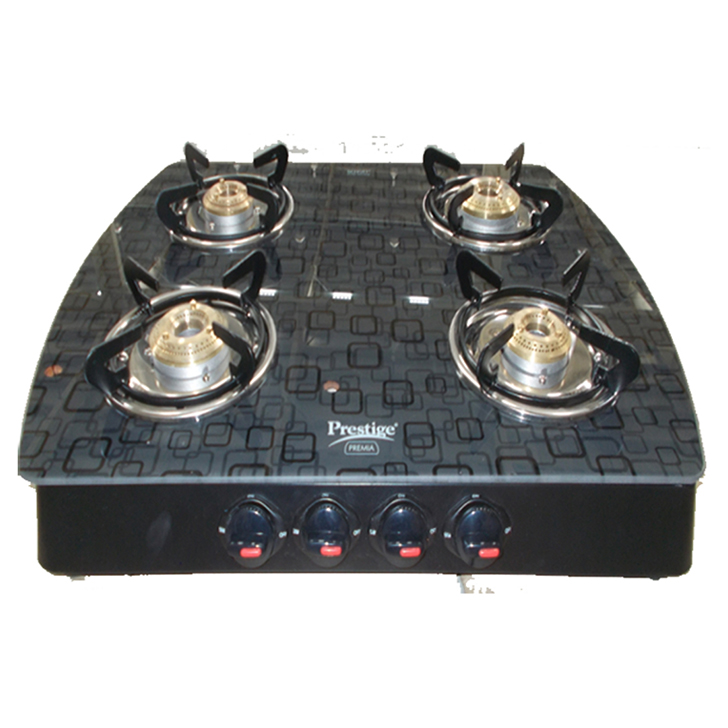 Prestige Gts 04 Designer 4 Burner Gas Stove Stainless steel Cooktops in Steel Color Colour by Prestige