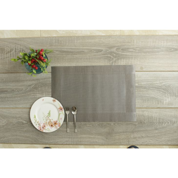 Placemat Pvc Table Mats in Grey Colour by Living Essence