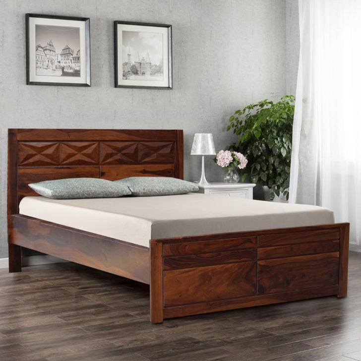 Barcelona Sheesham Wood(Rosewood) King Bed in Honey Colour by HomeTown