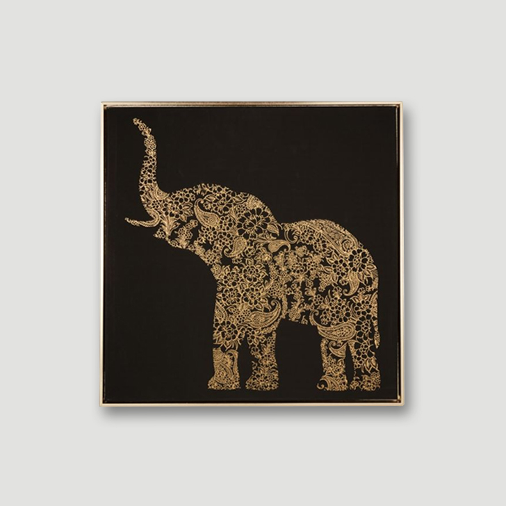 Craig Elephant With Black Painting Canvas Paintings in Multicolor Colour by Living Essence