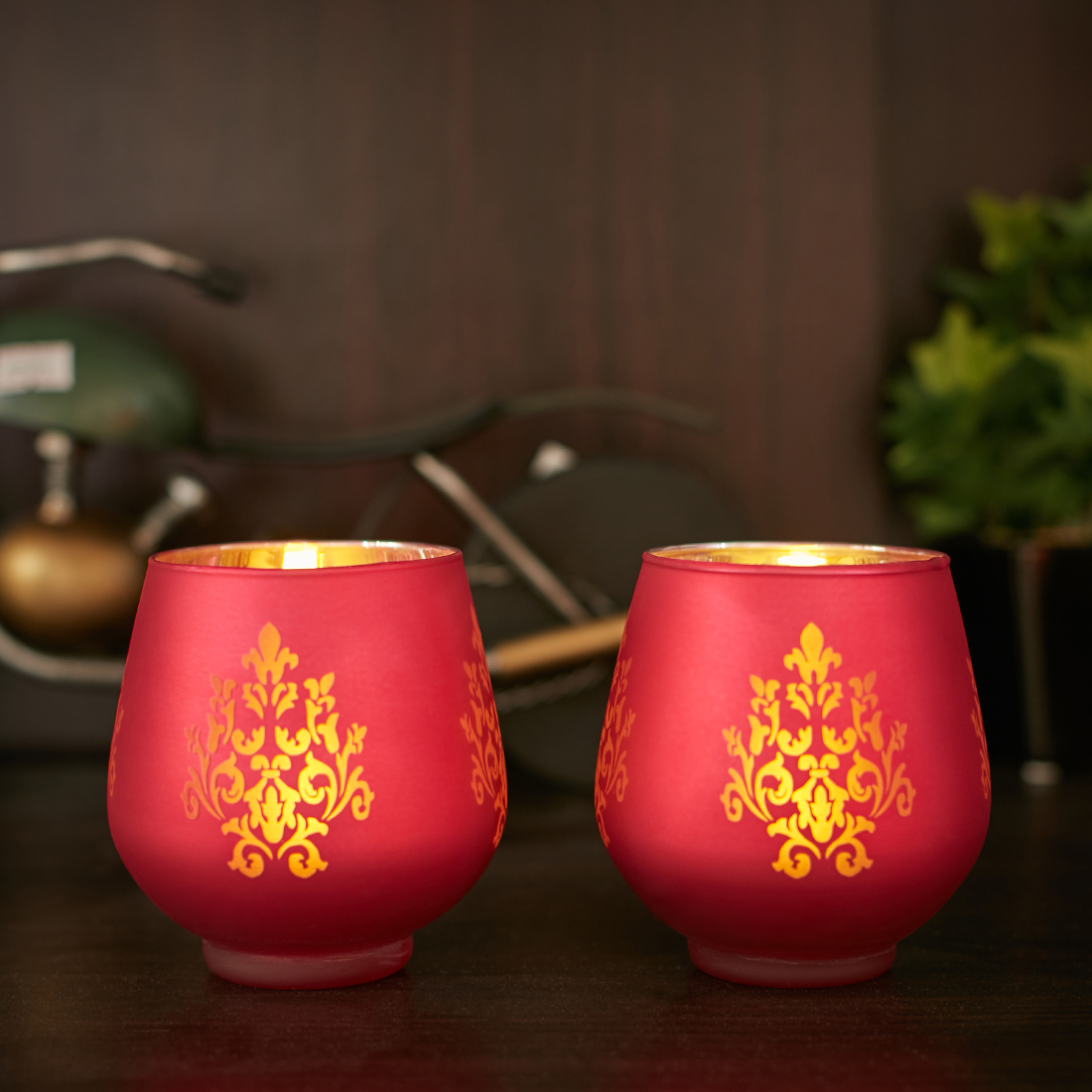Zahara Set Of 2 Flower Etched Glass Candle Holders in RED Colour by Living Essence