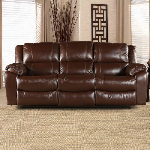 Buy Bristol Half Leather Three Seater Recliner In Brown Colour By